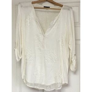 RXB Tunic Top Blouse Creamy White Large 3/4 Sleeve